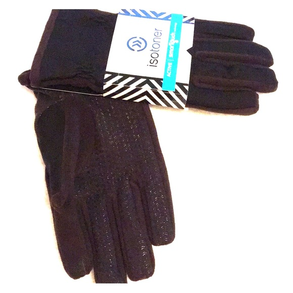 ISOTONER SIGNATURE ACTIVE BLACK MEDIUM SMART TOUCH WATERPROOF GLOVES NWT NEW